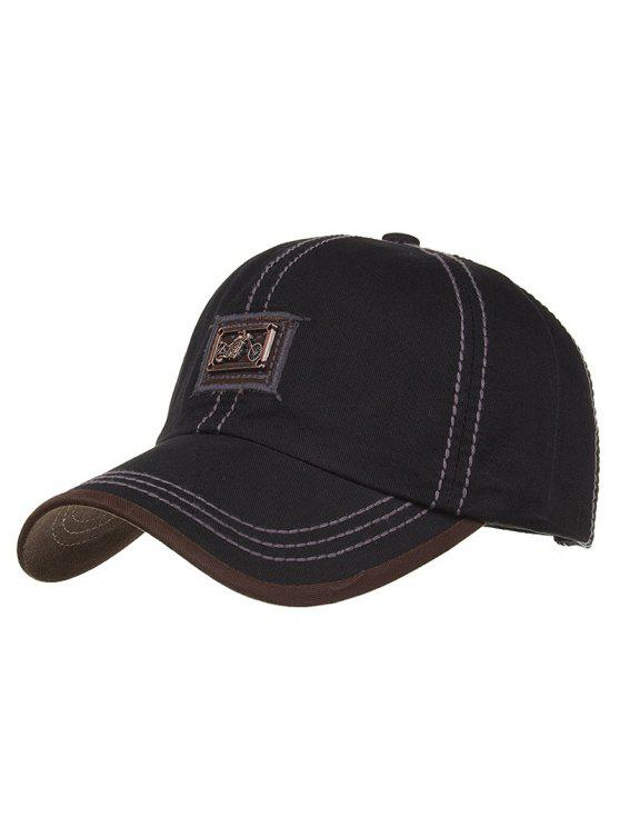 latest Motorcycle Metal Bar Embellished Baseball Hat - BLACK