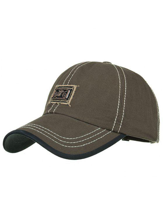 Sombrero de béisbol embellecido de la barra de metal de la motocicleta - Ejercito Verde