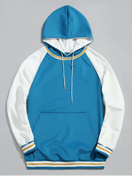 hot Contrast Color Kangaroo Pocket Pullover Hoodie - LAKE BLUE S