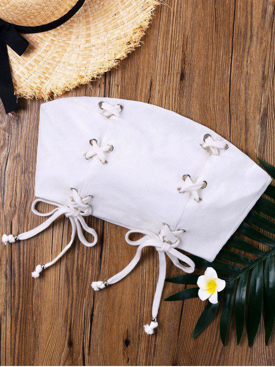 online Lace Up Strapless Crop Top - WHITE S