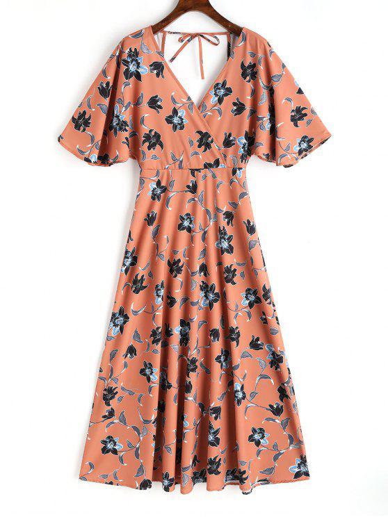 فستان ماكشي كيمونو الأكمام مفتوحة الظهر - الأزهار M