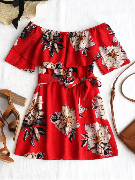 womens Off The Shoulder Overlay Floral Dress - RED S