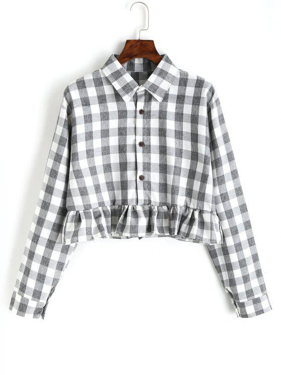 Button Down Plaid Ruffle Shirt