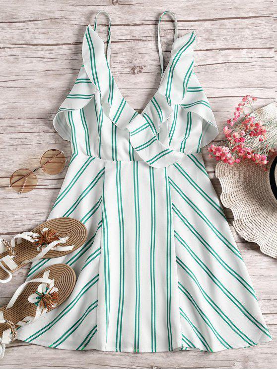 best Open Back Ruffle Hem Striped Cami Dress - GREEN S