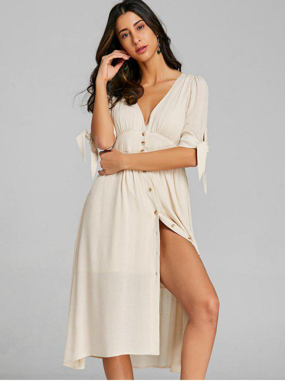 womens Empire Waist Button Up Dress - GLITTER CREAMY WHITE L