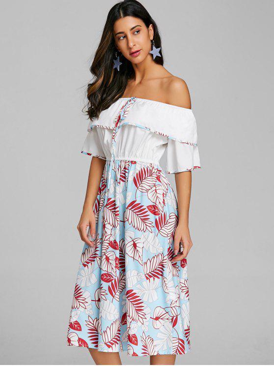 فستان طباعة الطبقات قبالة مفتوح الكتف - متعدد XL