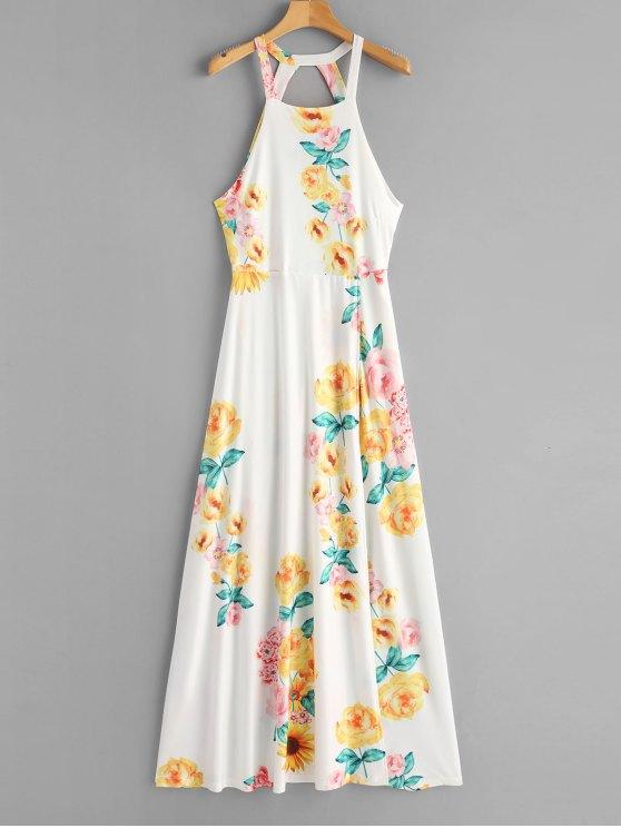 فستان ماكسي مفتوحة الظهر ربطة طباعة الأزهار - أبيض S
