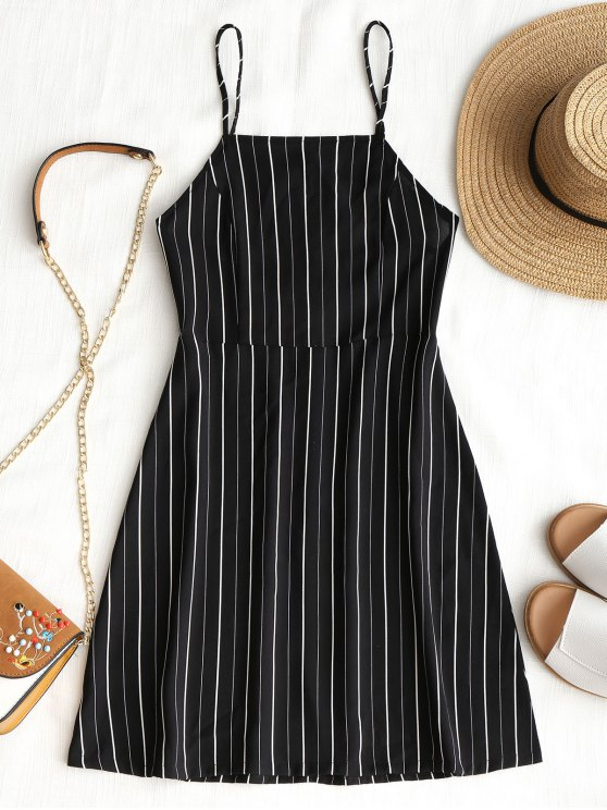 shop Drawstring Striped Open Back Mini Dress - BLACK S