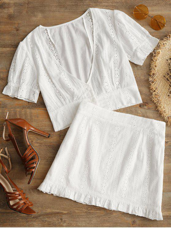 ladies Openwork Plunge Top and Ruffle Skirt Set - WHITE L