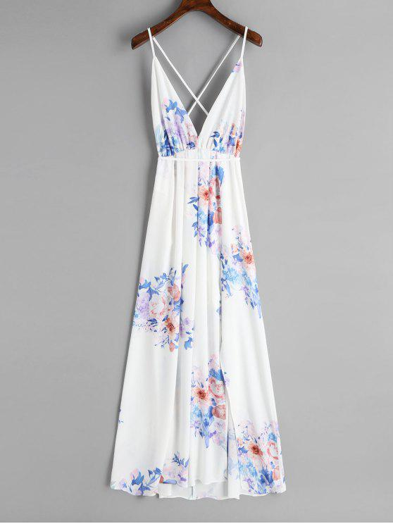 womens Slit Open Back Floral Maxi Dress - WHITE S