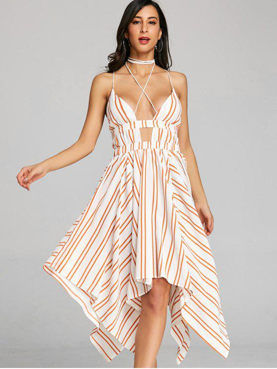 فستان منديل مخطط شريط - البرتقالي L