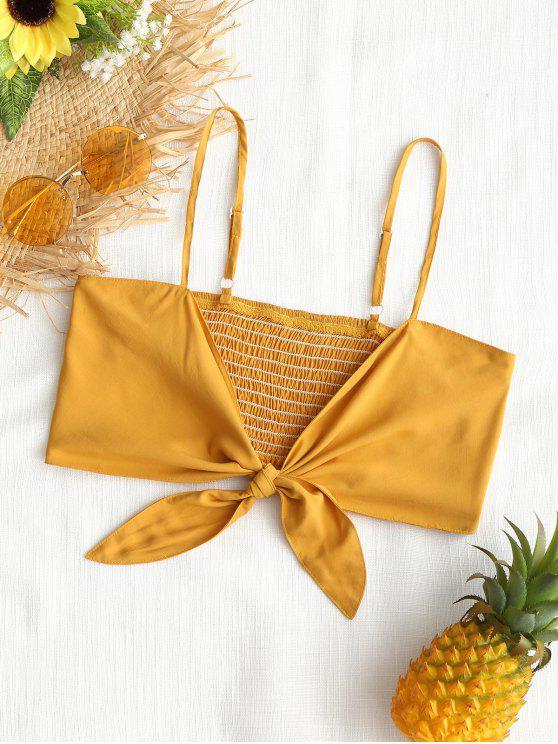 Colheita Smocked Camis - Amarelo Gengibre M