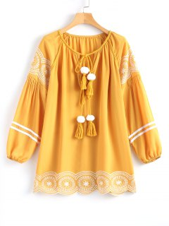 Long Sleeve Embroidered Tassel Mini Dress - Ginger M