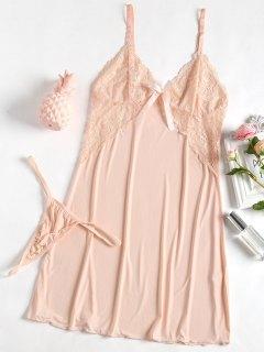 Babydoll Und G-String Aus Spitze - Pinkbeige