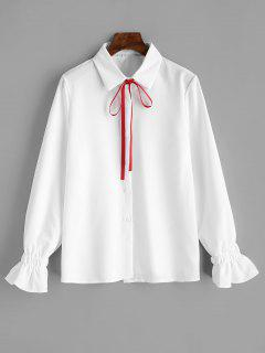 Manschettenärmel Vertikal Gestreiftes Hemd Mit Schleife - Weiß M