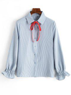 Cuff Sleeve Vertical Striped Shirt With Bowknot - Light Blue L