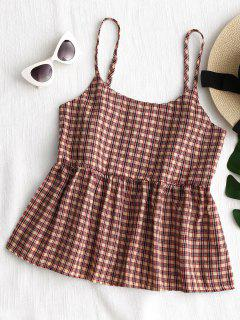 Cami Plaid Ruffles Tank Top - Checked Xl