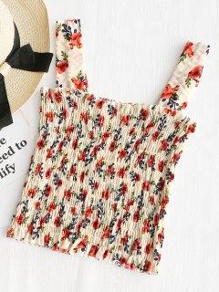 Camiseta Sin Mangas Fruncida Floral Con Volantes - Blancuzco
