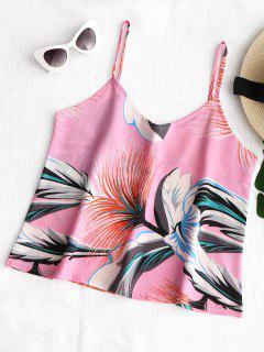 Camiseta Sin Mangas Floral De Cami Tropical - Rosa L