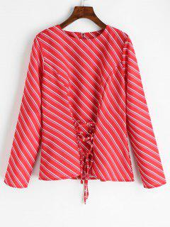Lace Up Oblique Stripes Blouse - Red M