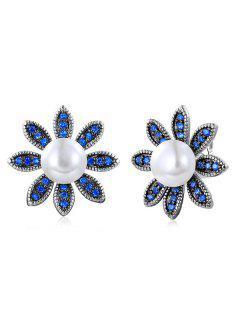 Pendientes De Perlas Florales De Perlas Simuladas - Azul
