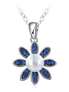 Simulated Pearl Floral Pendant Necklace - Blue