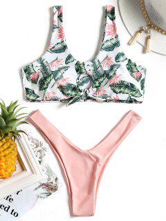 Bikini à Motif De Feuilles Nouées - Rose Clair Xl