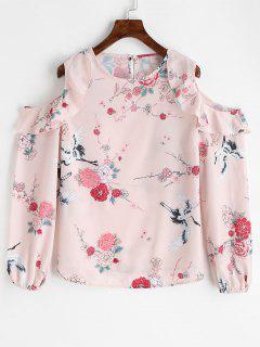 Frilled Floral Cold Shoulder Blouse - Floral S
