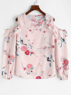 Frilled Floral Cold Shoulder Blouse - Floral L