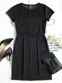 Mesh Panel Fitted Mini Dress - Black Xl