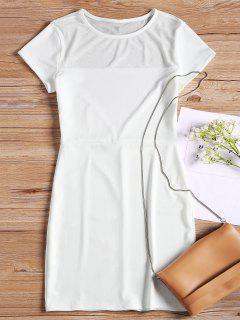Mesh Panel Fitted Mini Dress - White M