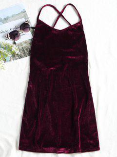 Robe Courte à Bretelles à Lacets à Dos Nu En Velours - Rouge Vineux  S