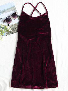 Backless Lace Up Velvet Cami Mini Dress - Wine Red M