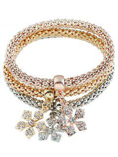 Faux Diamond Flocon De Neige Popcorn Chaîne Layered Bracelet Set