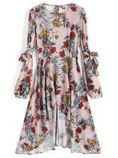Floral Open Back Asymmetrical Midi Dress - Floral L