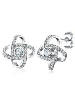 Rhinestone Cross Tiny Stud Earrings - Silver