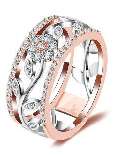 Faux Diamond Wreath Hollow Out Design Ring - Rose Gold 7