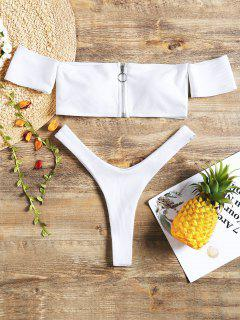 Zip Front Off Shoulder Thong Bikini Swimwear - White L