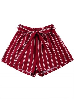 Striped Wide Leg Shorts With Tie Belt - Wine Red Xl