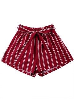 Pantalones Cortos De Pierna Ancha A Rayas Con Cinturón De Corbata - Vino Rojo Xl