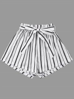 Pantalones Cortos De Pierna Ancha A Rayas Con Cinturón De Corbata - Blanco S