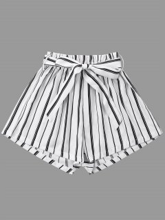Striped Wide Leg Shorts With Tie Belt - White L