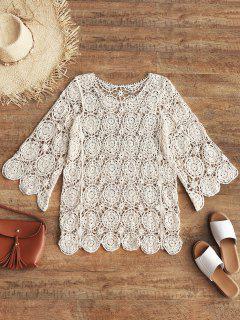 Openwork Crochet Top - Beige