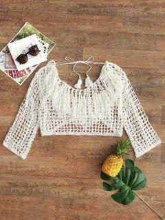 Low Back Quasten Crochet Beach Top - Beige (weis)