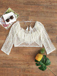 Low Back Tassels Crochet Beach Top - Off-white