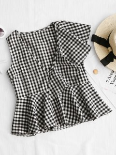 Sleeveless Plaid Ruffle Top - Checked S