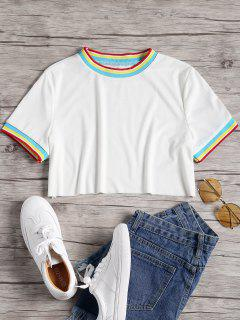 Striped Patched Crop Tee - White S