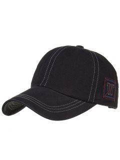 Unique W Embroidery Adjustable Baseball Cap - Black