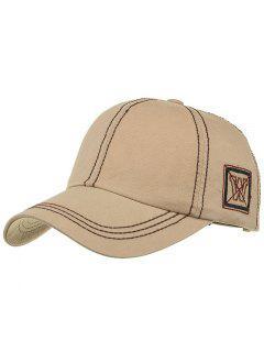 Unique W Embroidery Adjustable Baseball Cap - Khaki