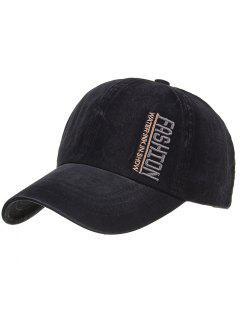 FASHION Embroidery Adjustable Baseball Hat - Black